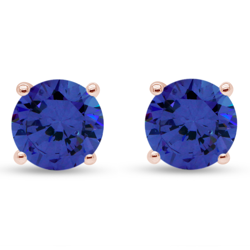 thumbnail 8 - 1.00Ct Round Tanzanite Solid 10K White Gold Stud Earrings