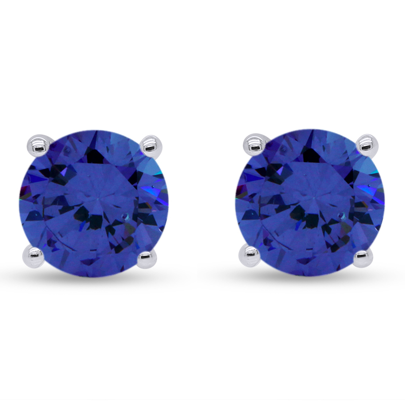 thumbnail 6 - 1.00Ct Round Tanzanite Solid 10K White Gold Stud Earrings