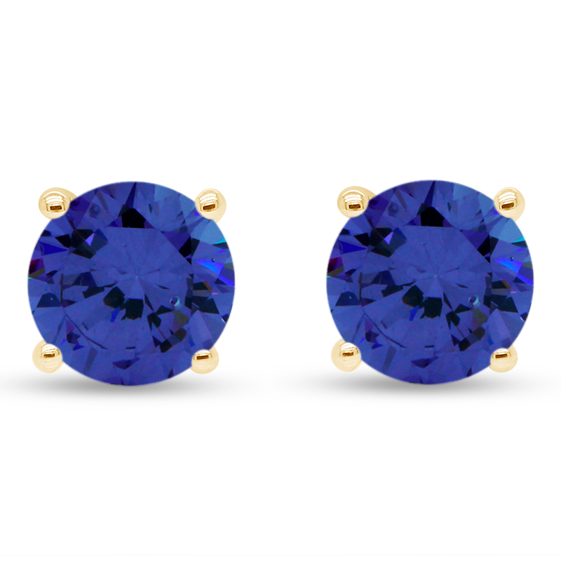 thumbnail 7 - 1.00Ct Round Tanzanite Solid 10K White Gold Stud Earrings